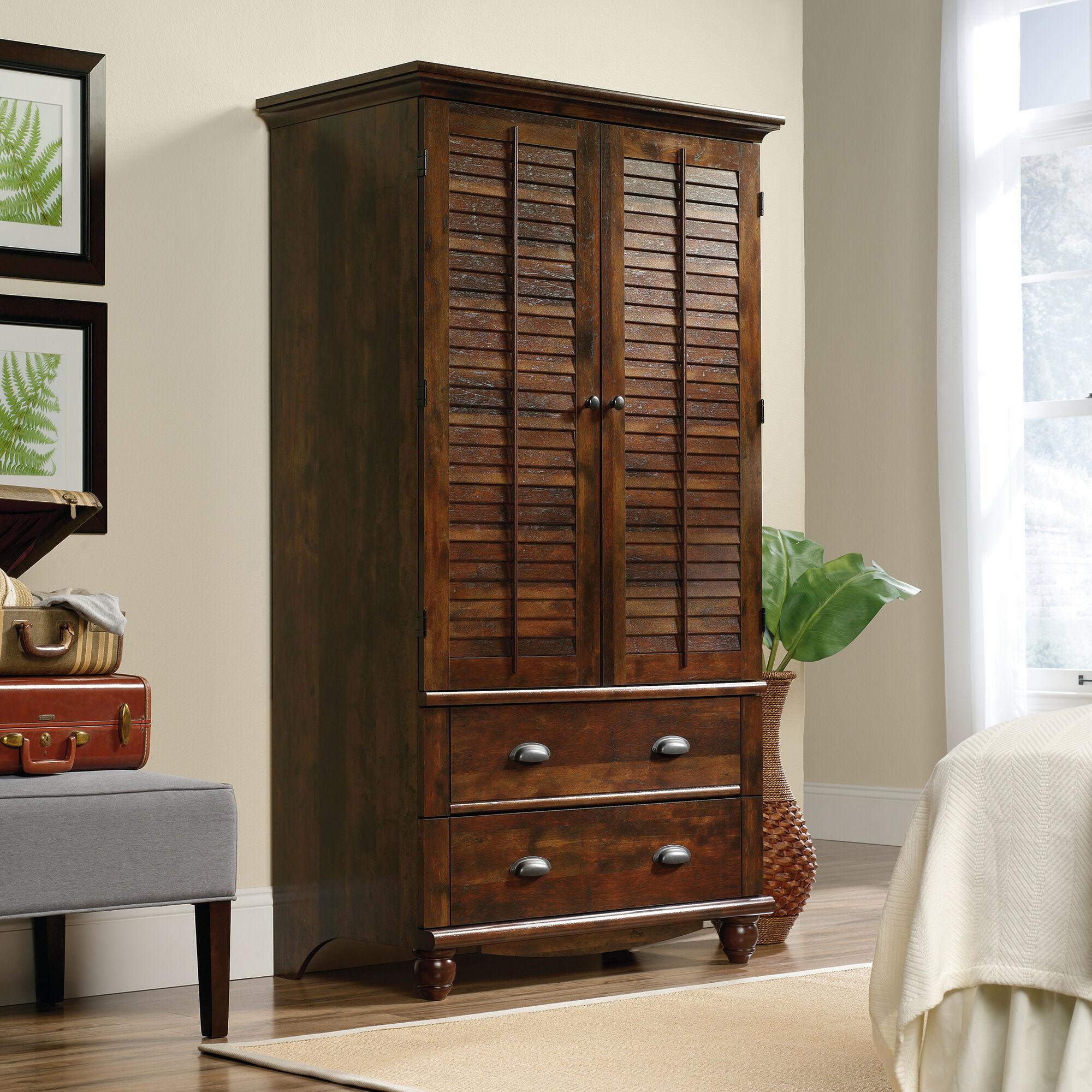 "72"" contemporary louver door armoire in curado cherry"