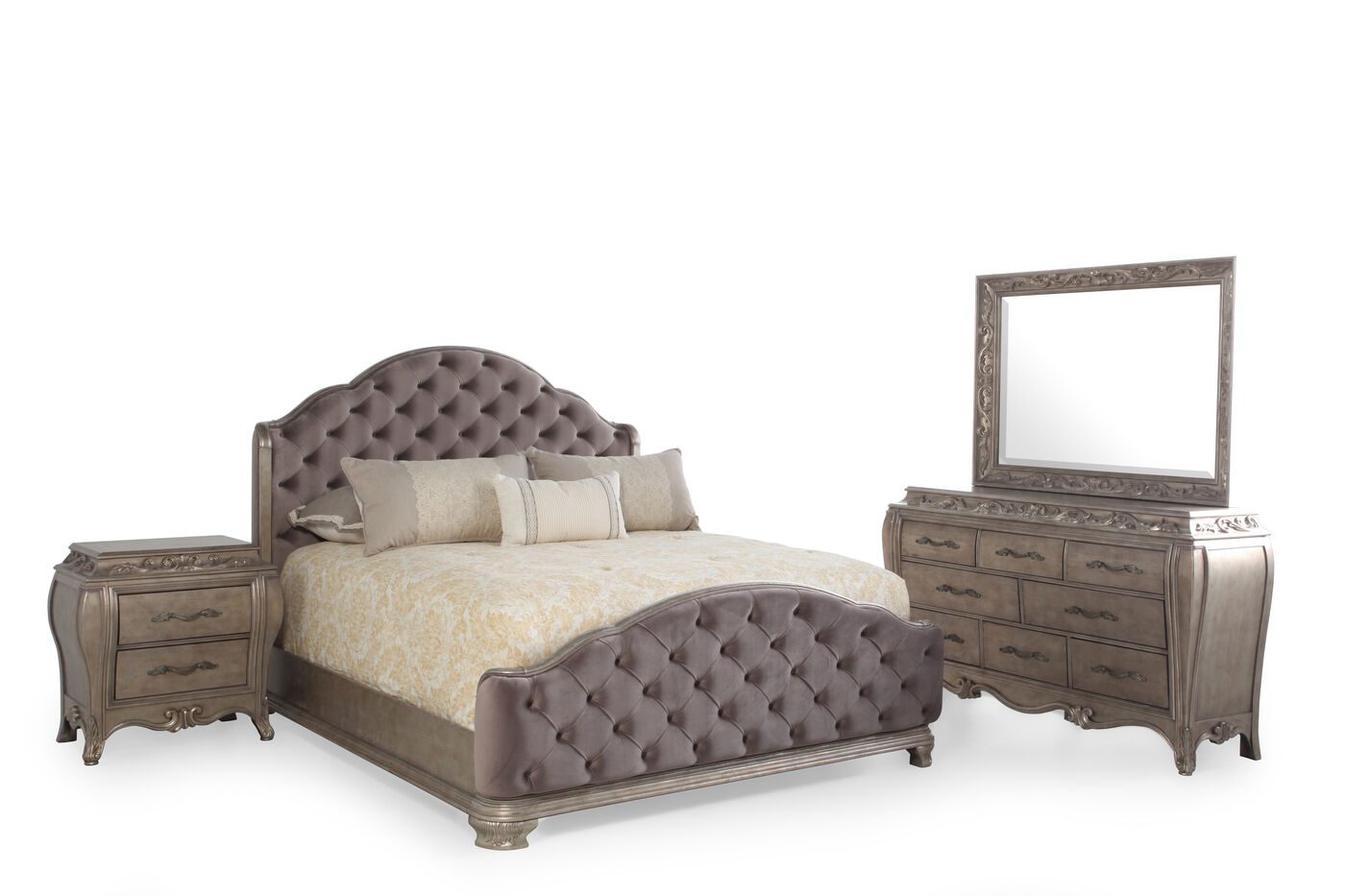 mathis brothers bedroom sets four contemporary bedroom set in silver mathis 16167