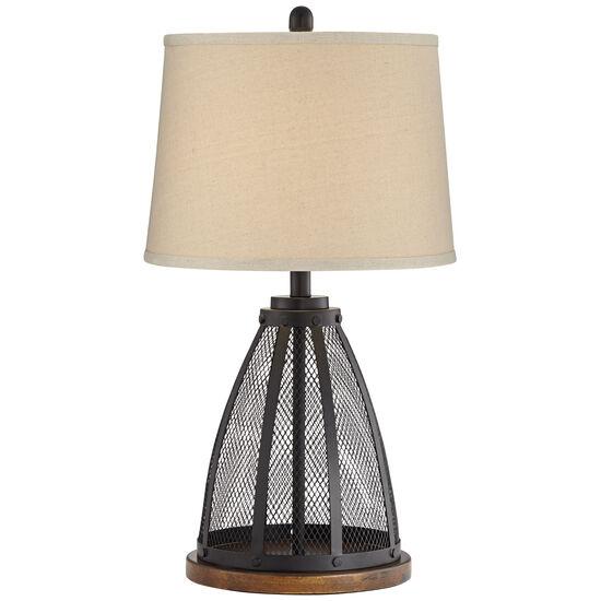 Mesh Wooden Base Lamp in Brown