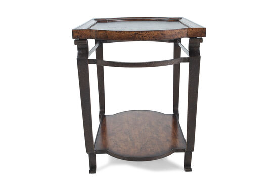 Solid Radiata Pine Tray-Top End Table in Weathered Nutmeg