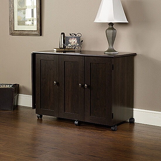 Three-Door Transitional Sewing/Craft Cart in Cinnamon Cherry