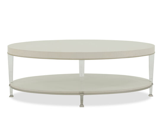 Oval Modern Cocktail Table in Sheer Ecru