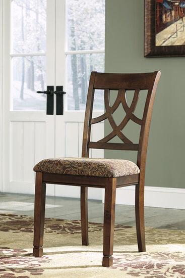 "Pierced Splat Back  18"" Upholstered Side Dining Chair in Medium Brown"