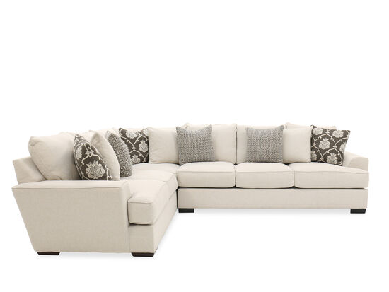 Casual Low-Profile Two-Piece Sectional in Cactus Linen