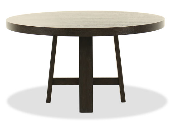 "60"" Traditional Round Dining Table in Black"