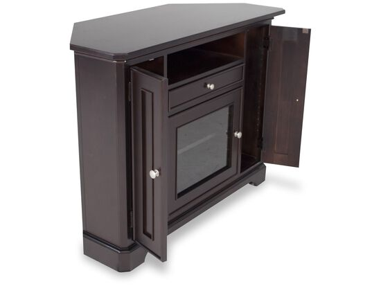 Paneled Side Door Casual Media Console in Dark Brown