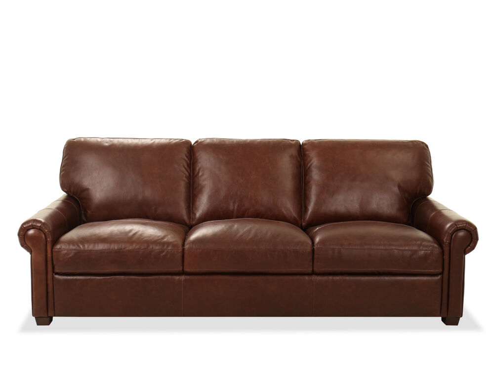 93 Rolled Arm Leather Sofa In Chocolate Mathis Brothers Furniture