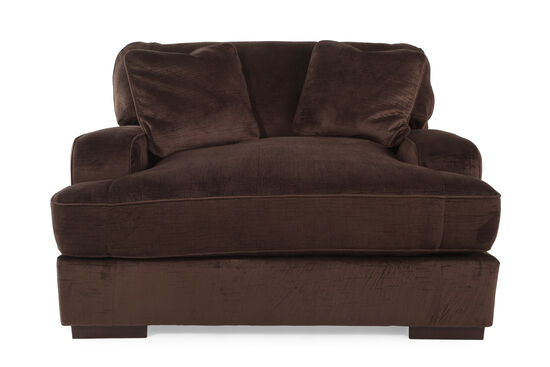 "Textured Microfiber 57"" Chair and a Half in Dark Chocolate"