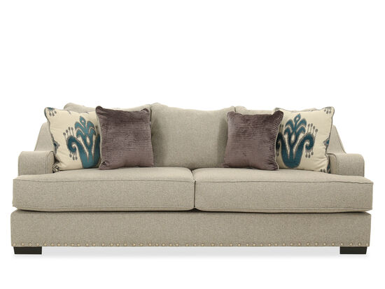 "Low-Profile Nailhead-Accented 96"" Sofa in Beige"