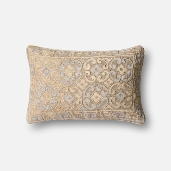 """Contemporary 13""""x21"""" Cover w/poly pillow in Beige/Silver"""