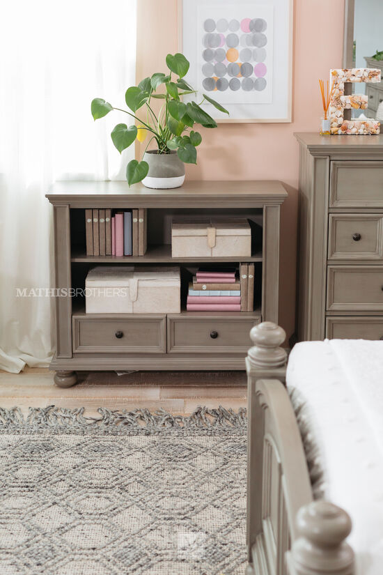 Two-Drawer Casual Youth Bookcase in Khaki Gray