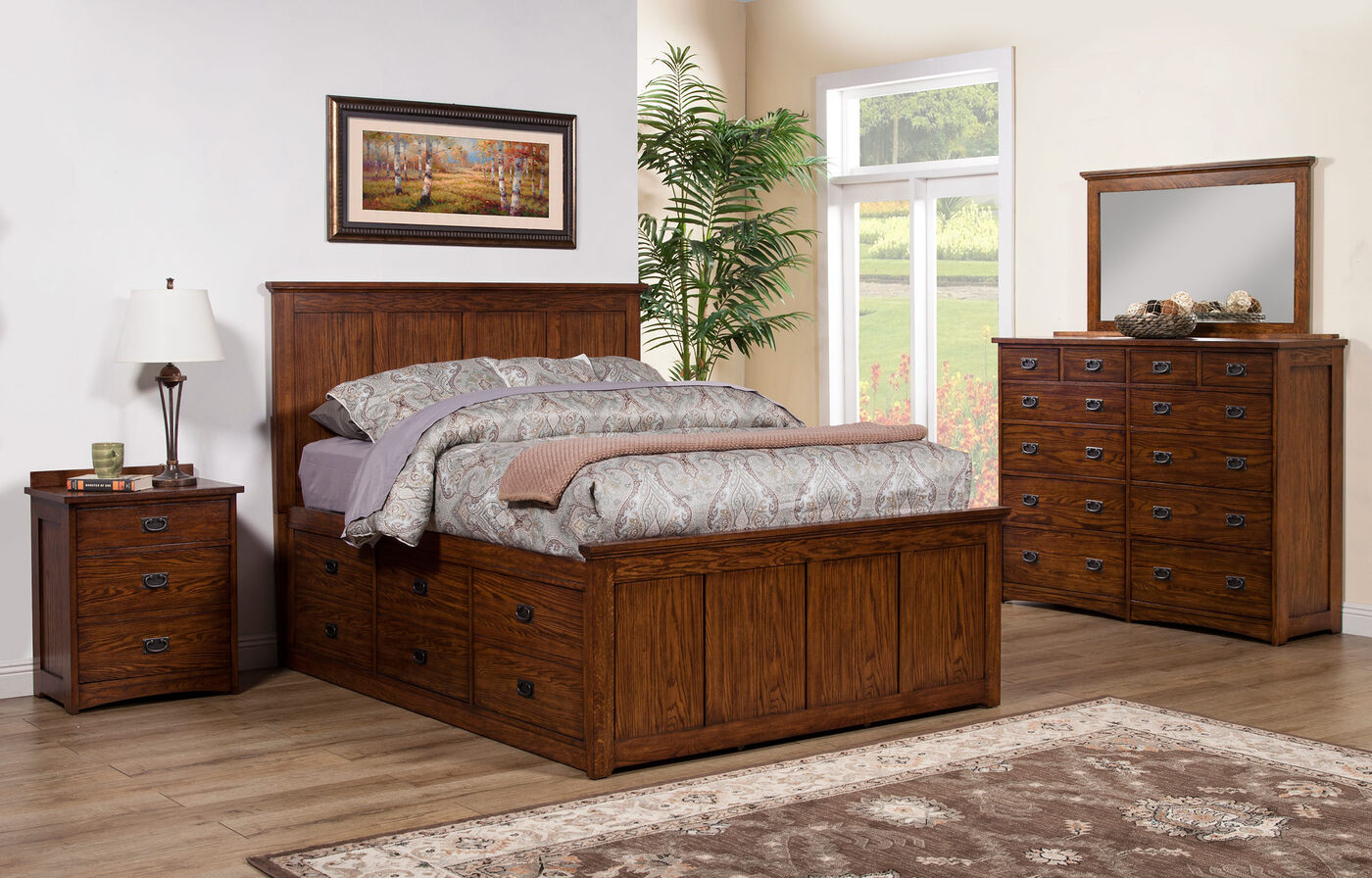 """56"""" Mission Paneled Storage Bed in Brown"""