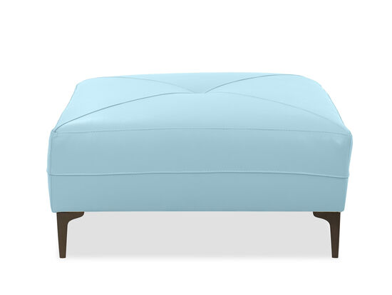 """Tufted Leather 37"""" Ottoman in Sky Blue"""