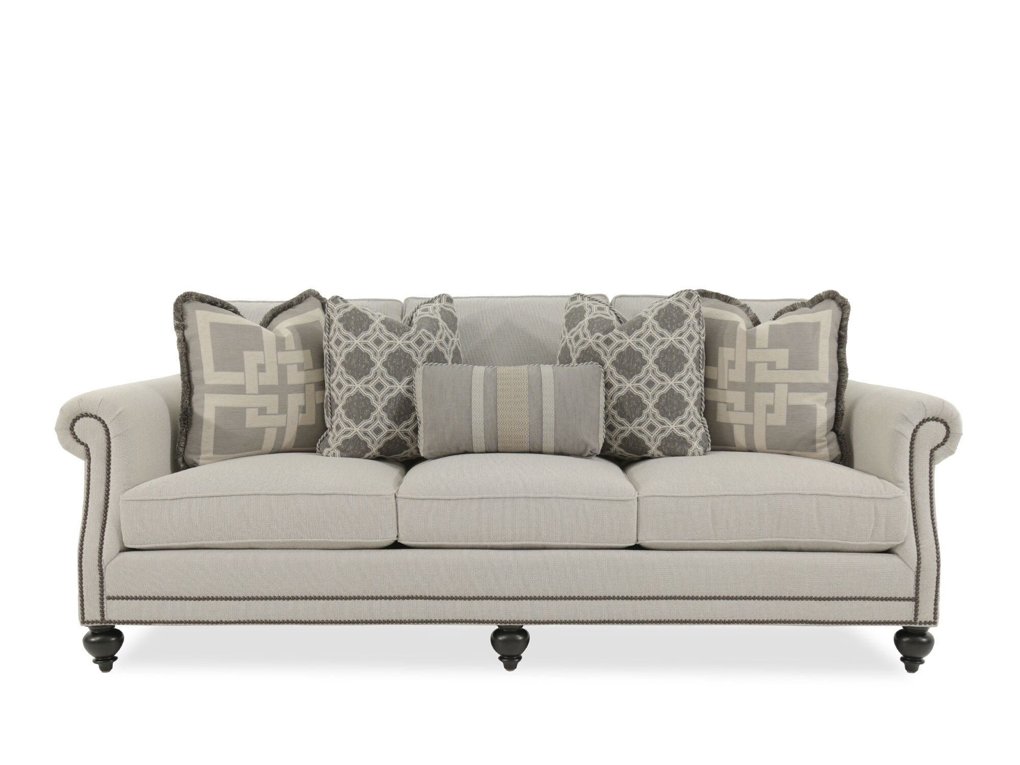 Images Nailhead Accented 92.5u0026quot; Rolled Arm Sofa In Gray  Nailhead Accented 92.5u0026quot; Rolled Arm Sofa In Gray