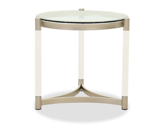 Round Contemporary End Table in Platinum