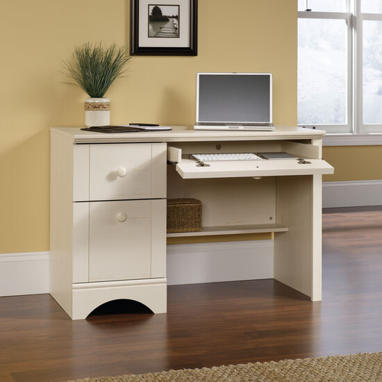 """43.5"""" Transitional Two-Drawer Computer Desk in Antiqued White"""