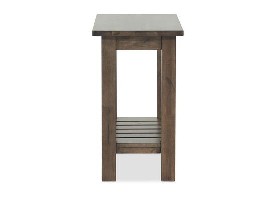 Transitional Rectangular Slatted Shelf Chairside Table in Brown