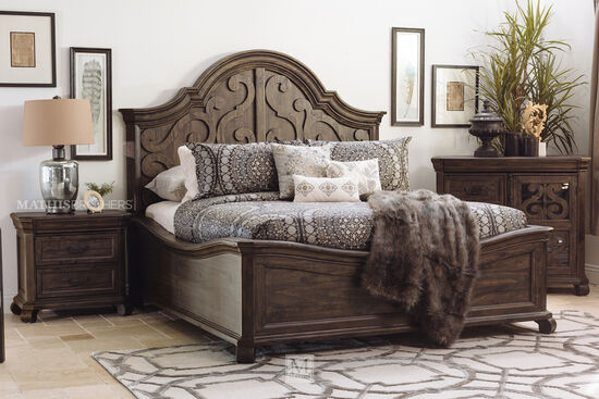 Contemporary Scroll Carved Arch King Panel Bed in Peppercorn