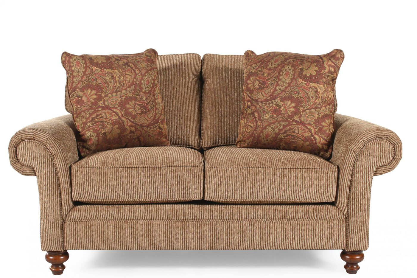 Textured traditional 66 loveseat in nut brown mathis for Traditional sofas and loveseats