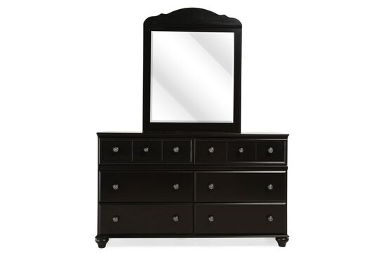 Six-Drawer Transitional Youth Dresser and Mirror in Black
