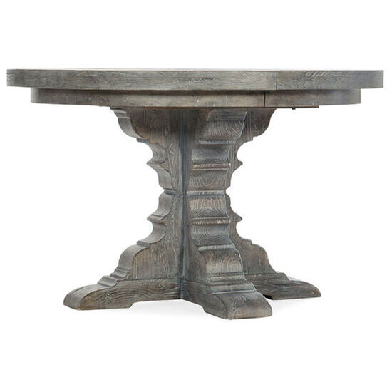 """Beaumont Round Dining Table With 48"""" Wood Top W/2-12"""" Leaves in Gray"""