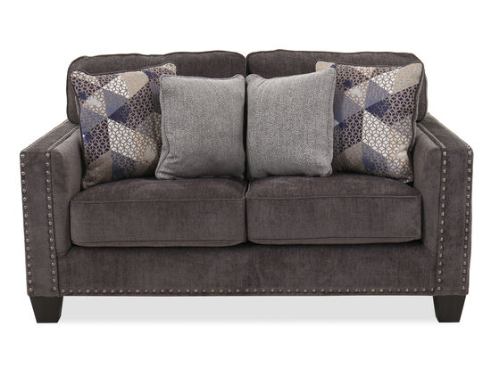"""Contemporary Nailhead-Accented 65"""" Loveseat in Smoke"""