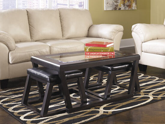 Three-Piece Rectangular Cocktail Table and Stool Set in Espresso