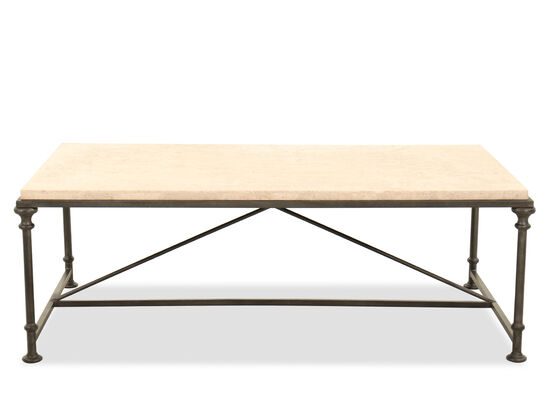 Rectangular Steel Cocktail Table in Antique Silver