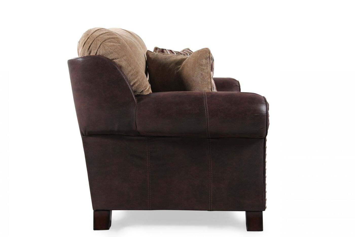 Two Tone Microfiber 69 Loveseat In Mocha Mathis Brothers Furniture
