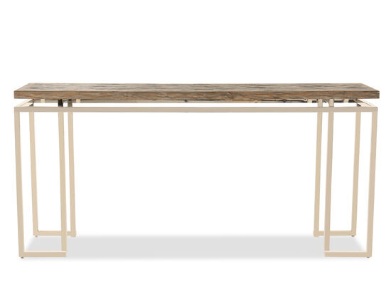 Square Framed Base Contemporary Console Table in Silver