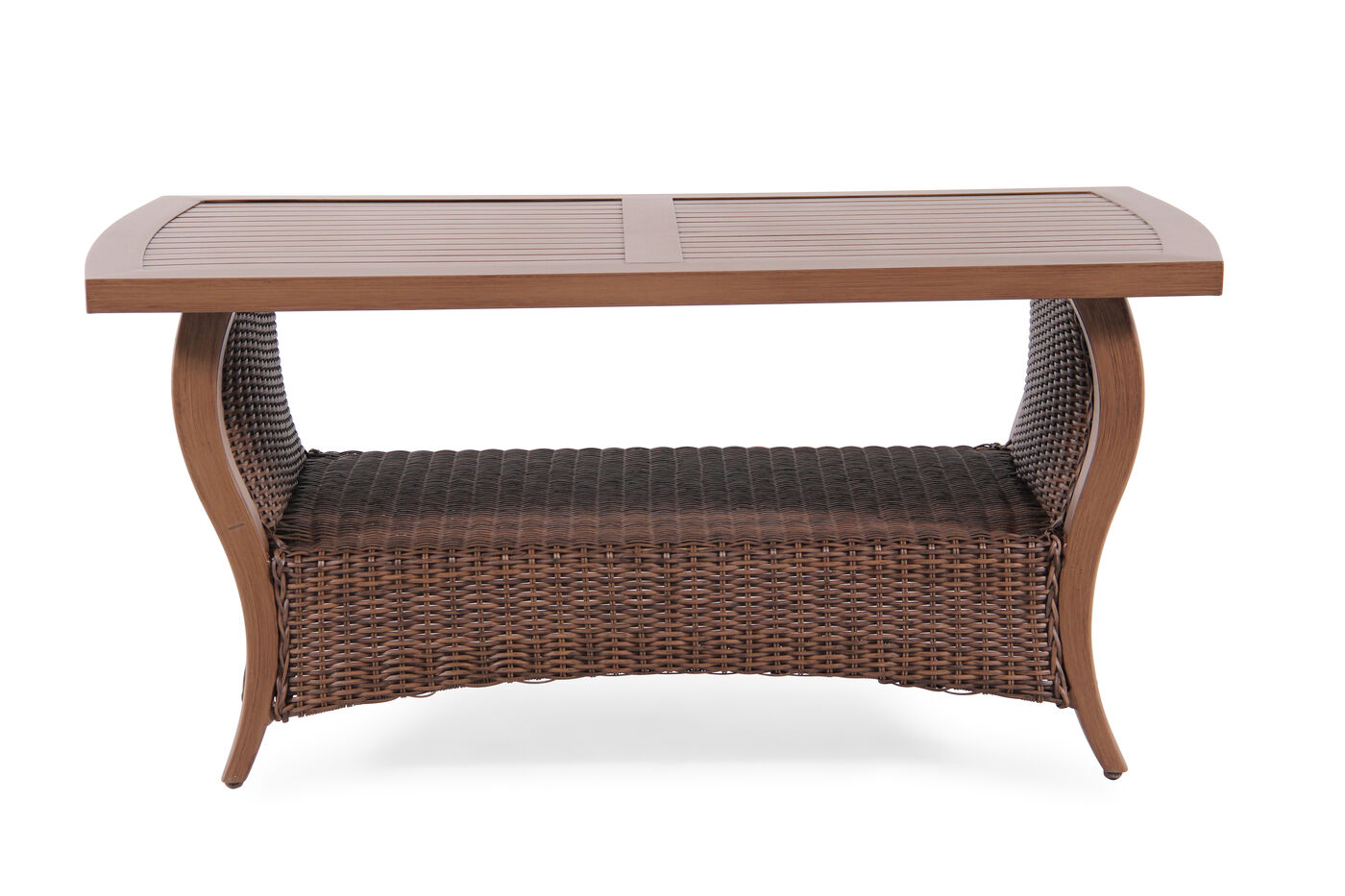 Display Shelf Contemporary Coffee Table In Medium Brown Mathis Brothers Furniture