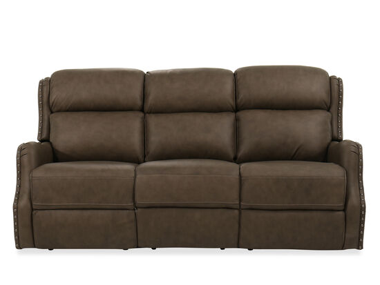 "78"" Leather Power Headrest Sofa in Brown"