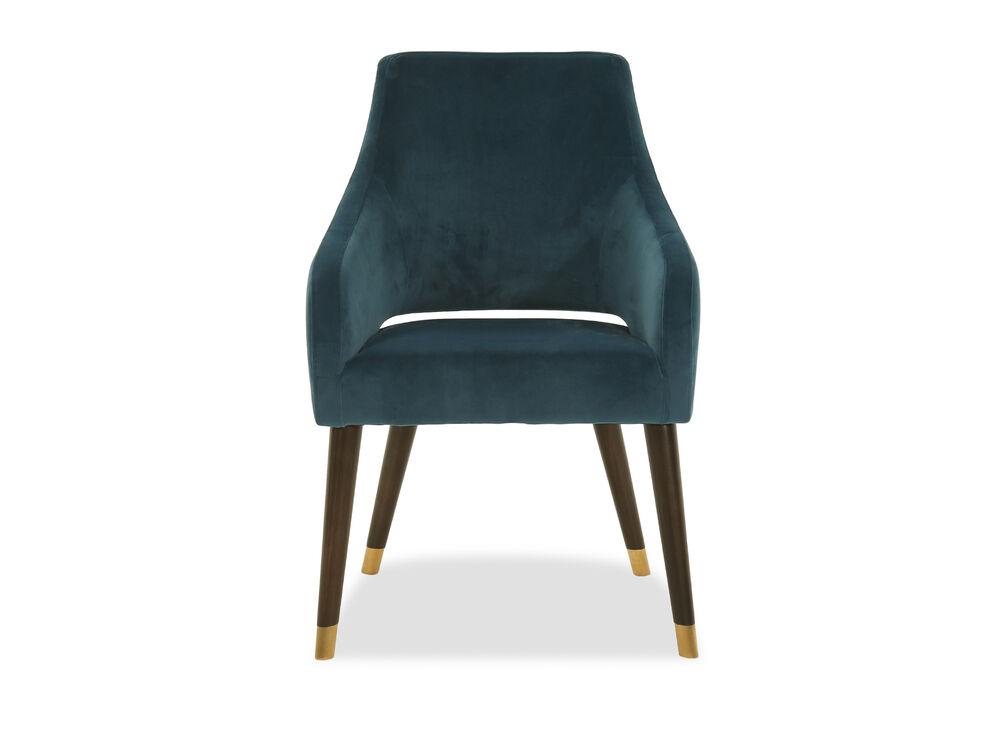 Modern Velvet Accent Chair in Peacock Blue
