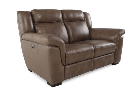 "Power Reclining Contemporary 66"" Loveseat in Nutmeg Brown"
