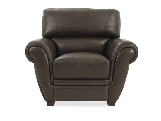 """Bustle-Back Leather 44"""" Chair in Brown"""