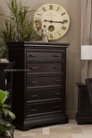 """59"""" Solid Rubberwood Six-Drawer Chest in Black"""