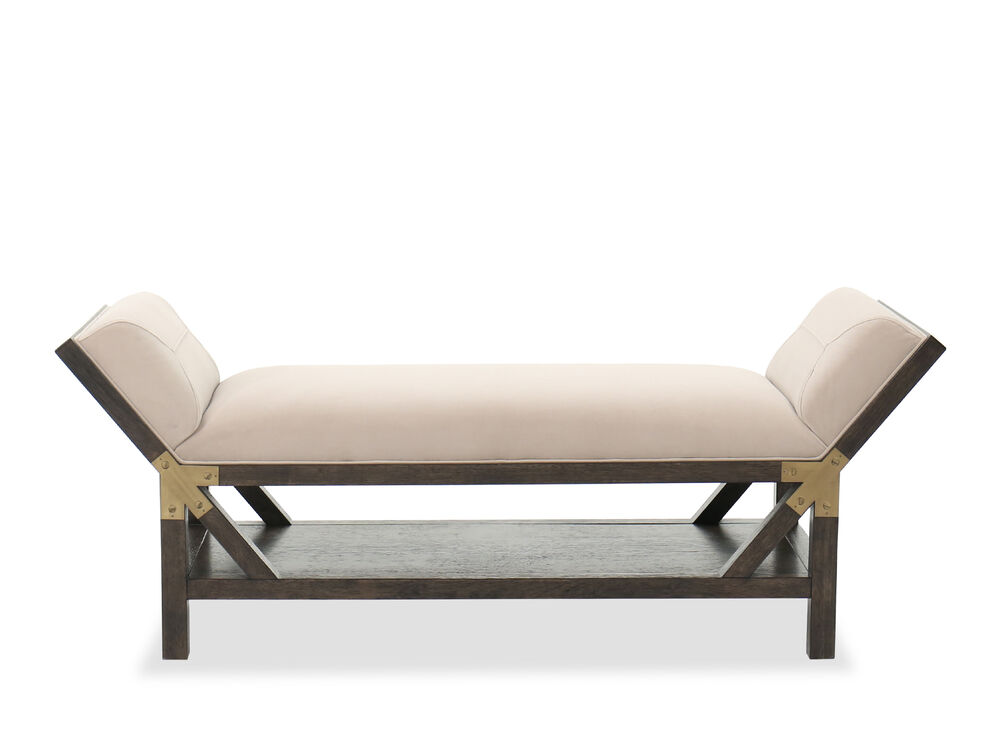 """24"""" Open Shelf Traditional Bed Bench in Neutral Dove"""