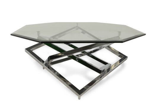 Octagonal Contemporary Cocktail Table in Silver