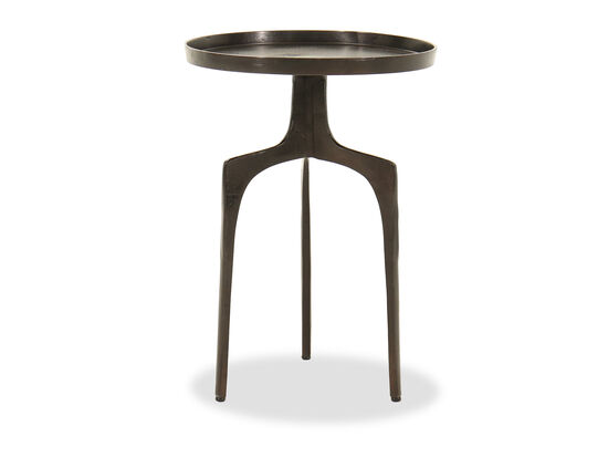 Tripod Base Industrial Accent Table in Black