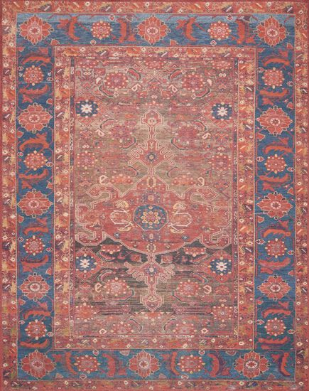 "Traditional 2'-3""x3'-9"" Rug in Rust/Blue"