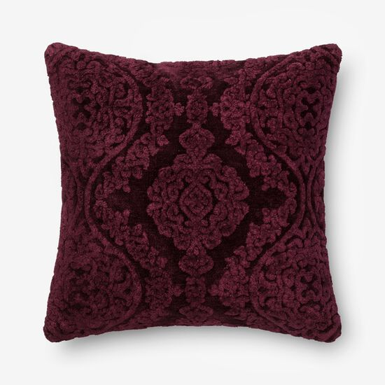 """Contemporary 22""""x22"""" Cover w/Poly Pillow in Eggplant"""