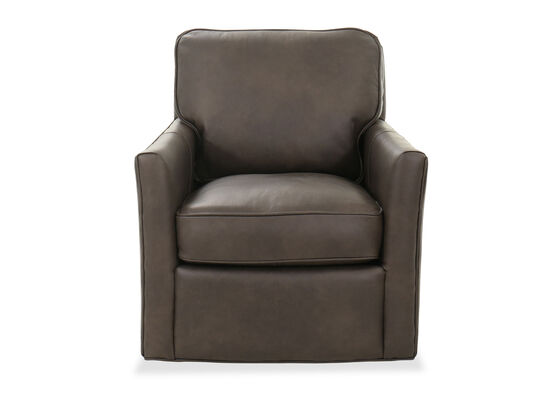 """30"""" Leather Swivel Club Chair in Gray"""
