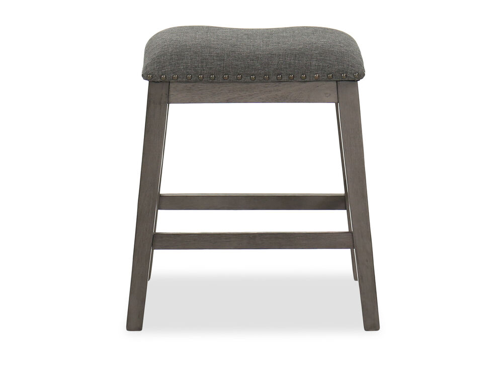 "Casual 24.5"" Nailhead-Accented Bar Stool in Dark Gray"