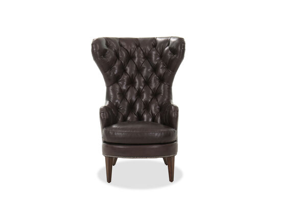 """35"""" Leather Diamond Tufted Wing Chair in Brown"""