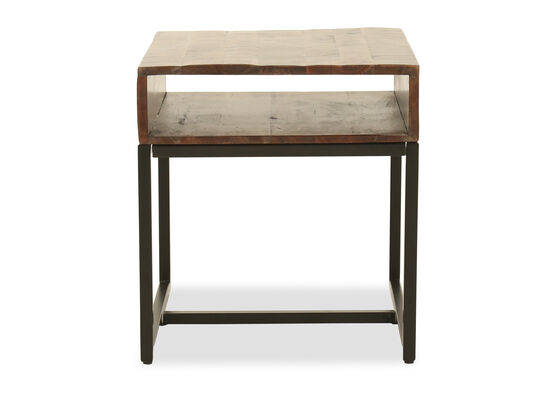 Rectangular Mango Wood End Table in Warm Brown