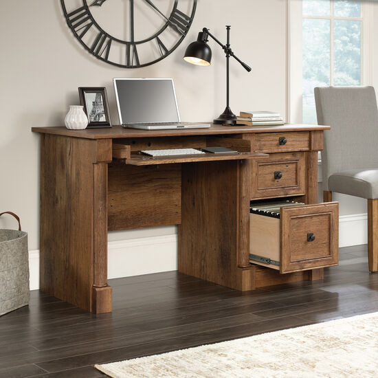 "53"" Contemporary Four-Drawer Computer Desk in Oak"