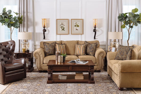 Button-Tufted Wingback Glider Chair in Brown
