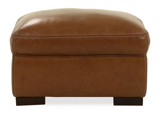 Leather Ottoman in Saddle