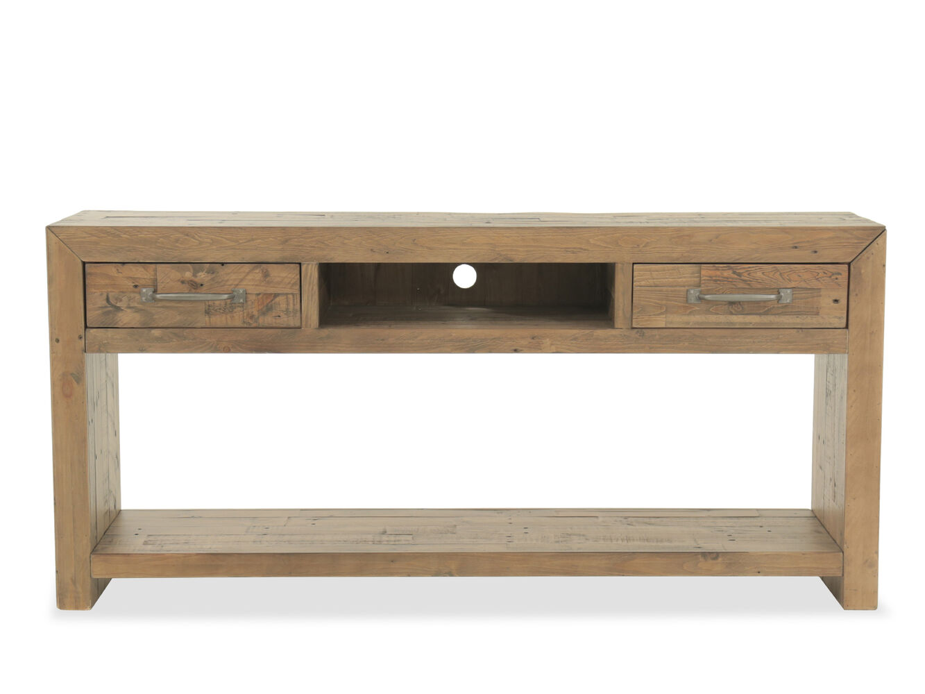 Two Drawer Rustic Farmhouse Console Table In Brown