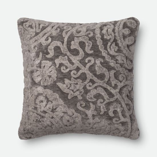 "Transitional 22""x22"" Pillow Cover Only in Ash"